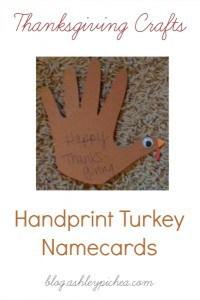 Thanksgiving Crafts: Handprint Turkey Placecards