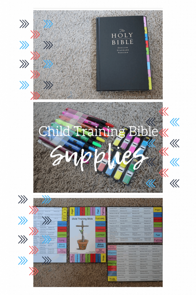 supplies needed to assemble the Child Training Bible and Virtue Training Bible