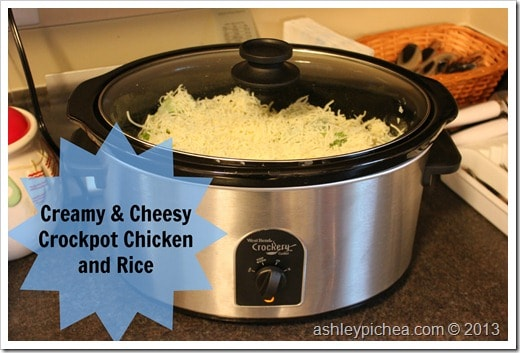 Creamy & Cheesy Crockpot Chicken & Rice | easy meal idea for busy families