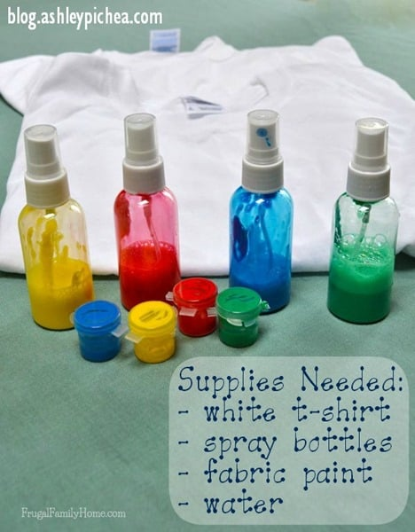 Summer bucket list idea t shirt painting with spray bottles for Bottle painting materials