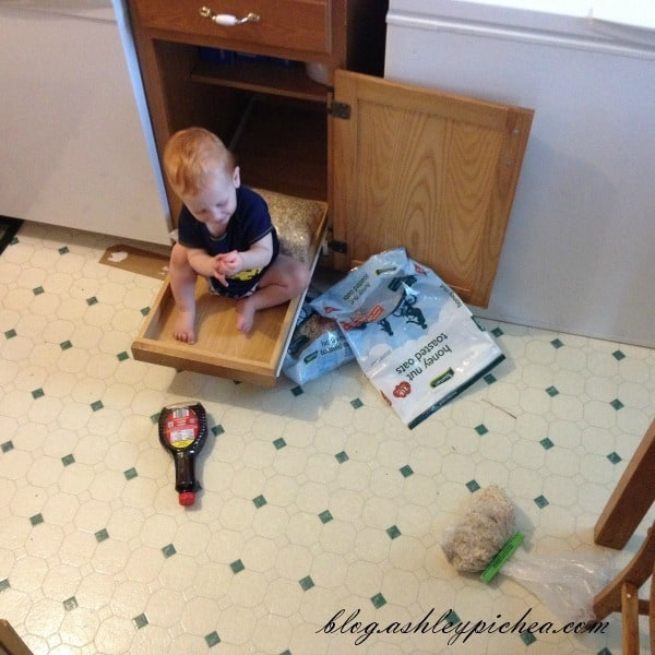 Chris in the cereal cupboard | A Day in the Life of a Work-at-Home, Homeschooling Mom