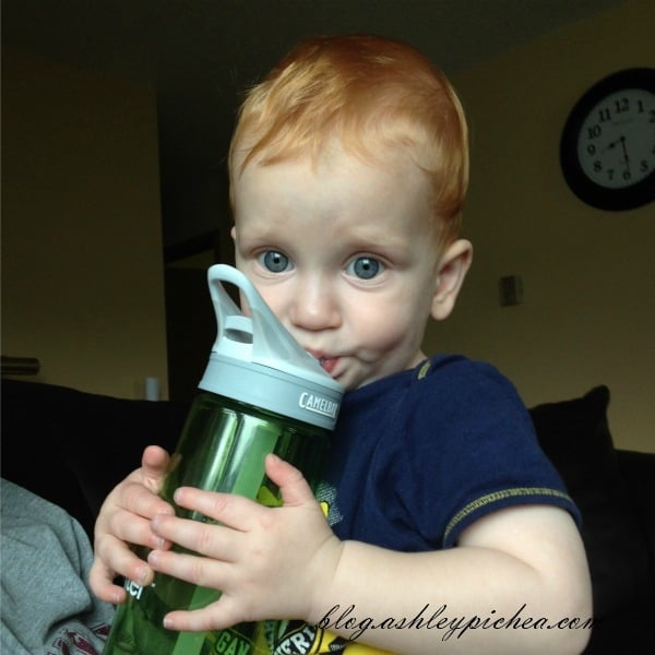 Chris with my water bottle | A Day in the Life of a Work-at-Home, Homeschooling Mom
