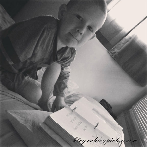 David Doing Math in My Bed | A Day in the Life of a Work-at-Home, Homeschooling Mom