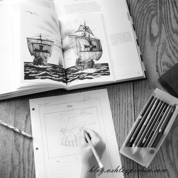 Jenny Drawing a Ship in Paths of Exploration | A Day in the Life of a Work-at-Home, Homeschooling Mom