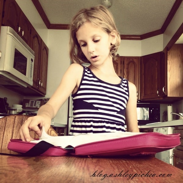 Jenny Reading the Bible in Homeschool | A Day in the Life of a Work-at-Home, Homeschooling Mom