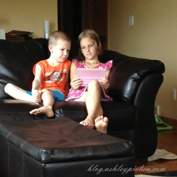 Jenny and David watching PBSKids on the Kindle Fire | A Day in the Life of a Work-at-Home, Homeschooling Mom