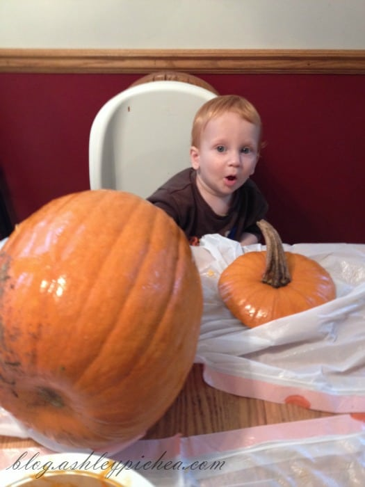 Pumpkin Carving with Kids - Chris with my uncarved pumpkin