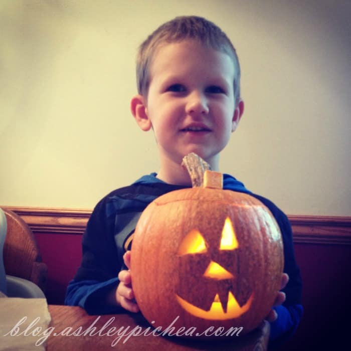 Pumpkin Carving with Kids - David and his pumpkin
