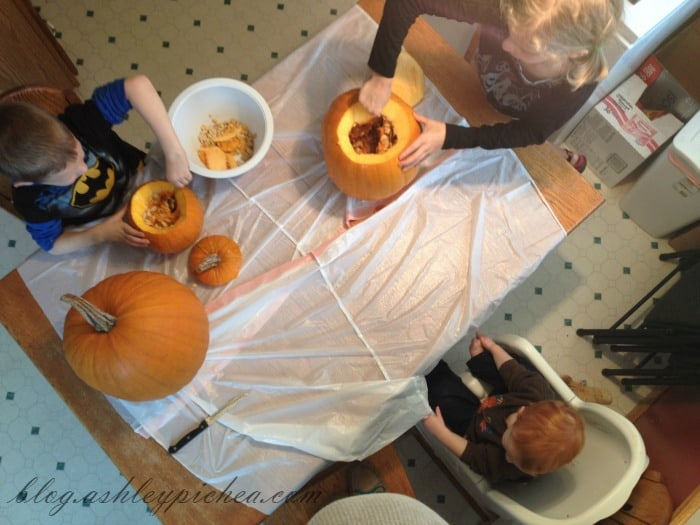 Pumpkin Carving with Kids - overhead view