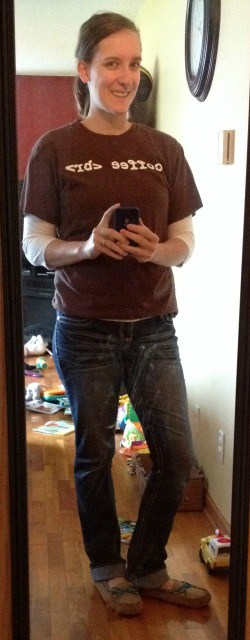 """""""coffee <br>"""" t-shirt from BloggingGear.com, 3/4-length sleeve white shirt, jeans, slippers"""