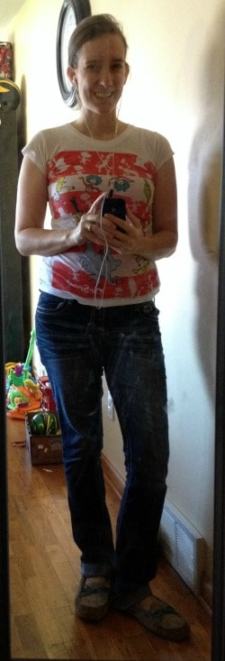 Dr. Seuss character t-shirt, jeans, slippers