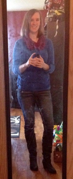 blue henley, jeans, black boots, red scarf