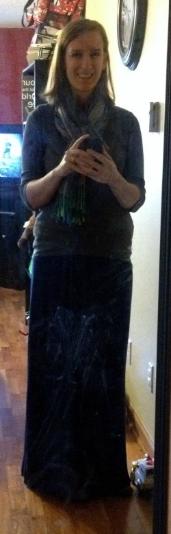 gray 3/4-length shirt, blue maxi dress/skirt, brown flats, multi-colored scarf