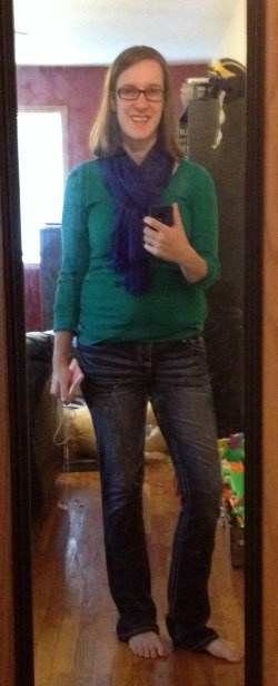 green henley, jeans, slippers, blue scarf