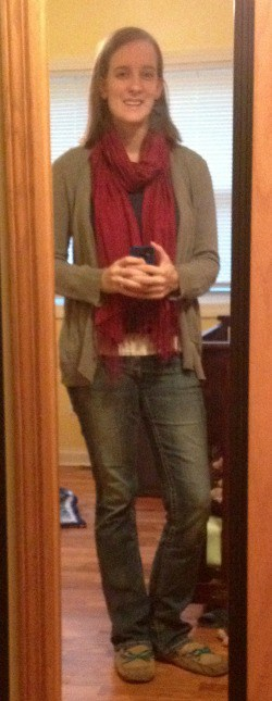 blue shirt, gray cardigan, red scarf, jeans, slippers