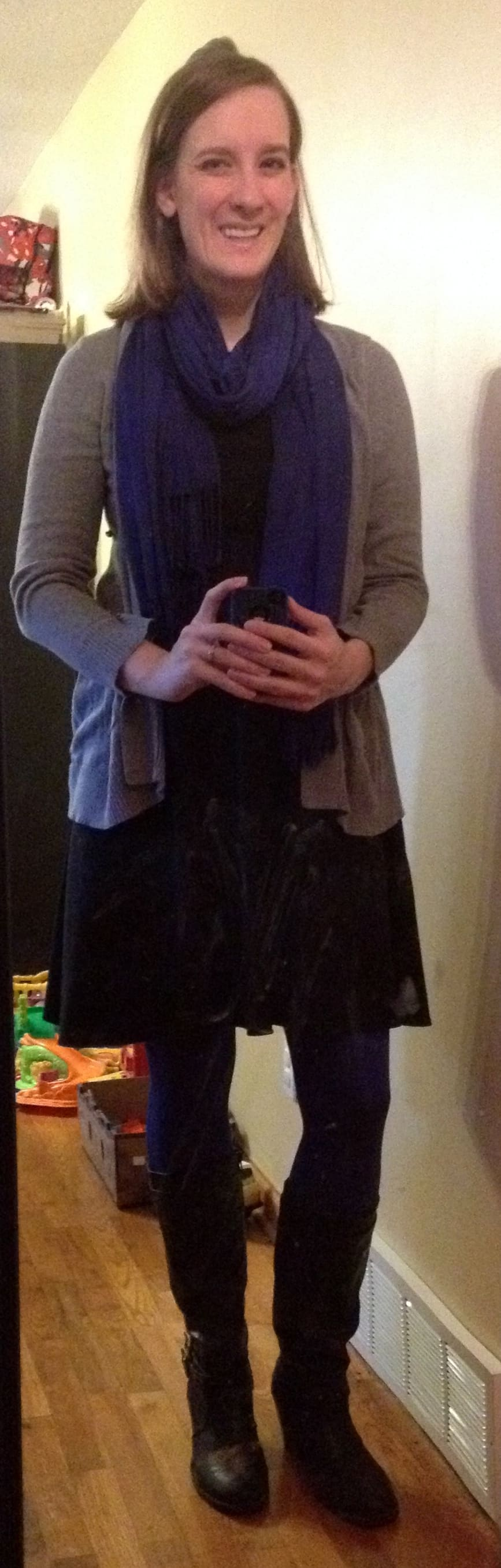 caption: little black dress - scored for less than $15 on Kohls' clearance rack, blue fleece-lined leggings from Cents of Style, gray cardigan, black heeled boots, blue scarf