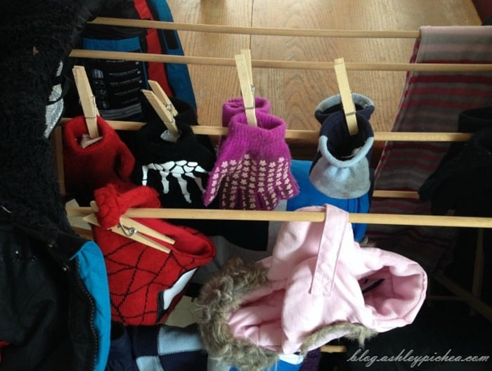 Makeshift Winter Mudroom Station - Hats and Gloves