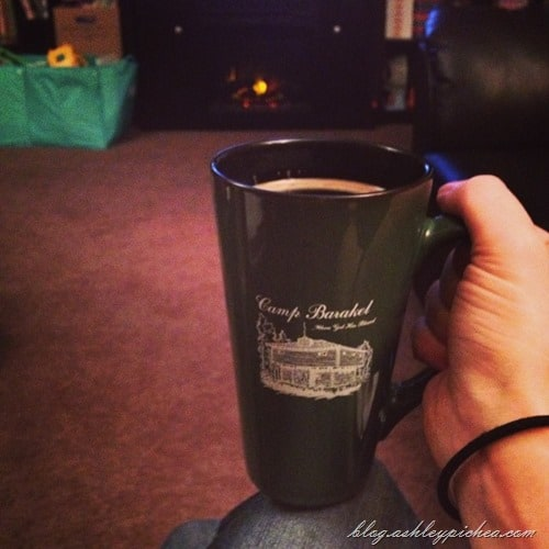 savoring a cup of coffee