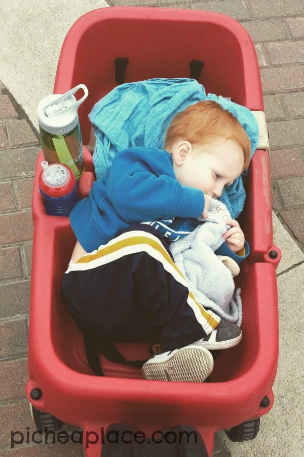 Taking a nap in the wagon at Cedar Point