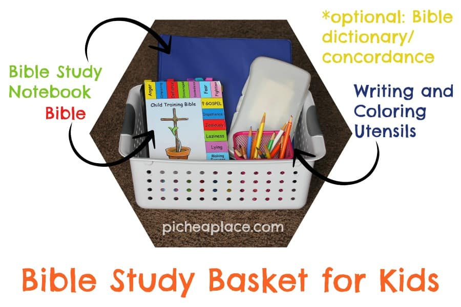 Bible Study Basket for Kids - supplies
