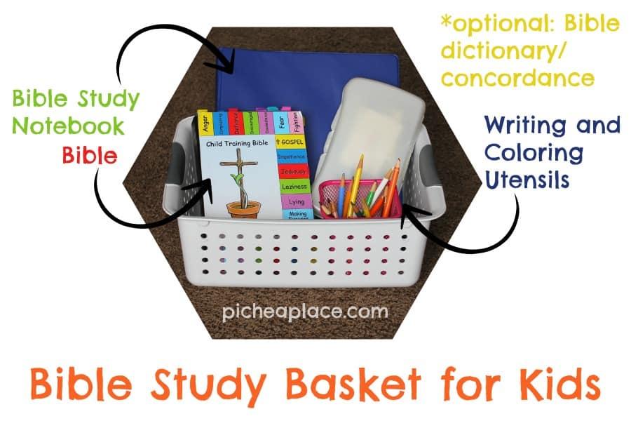 Bible Study Basket for Kids - supplies