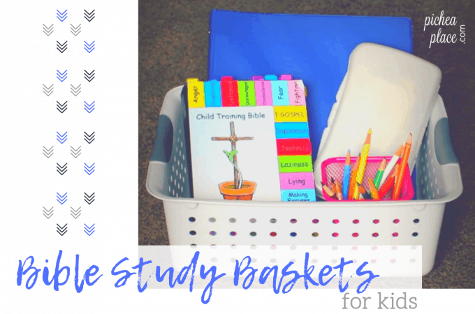 helping kids learn how to study the Bible with Bible Study Baskets for kids