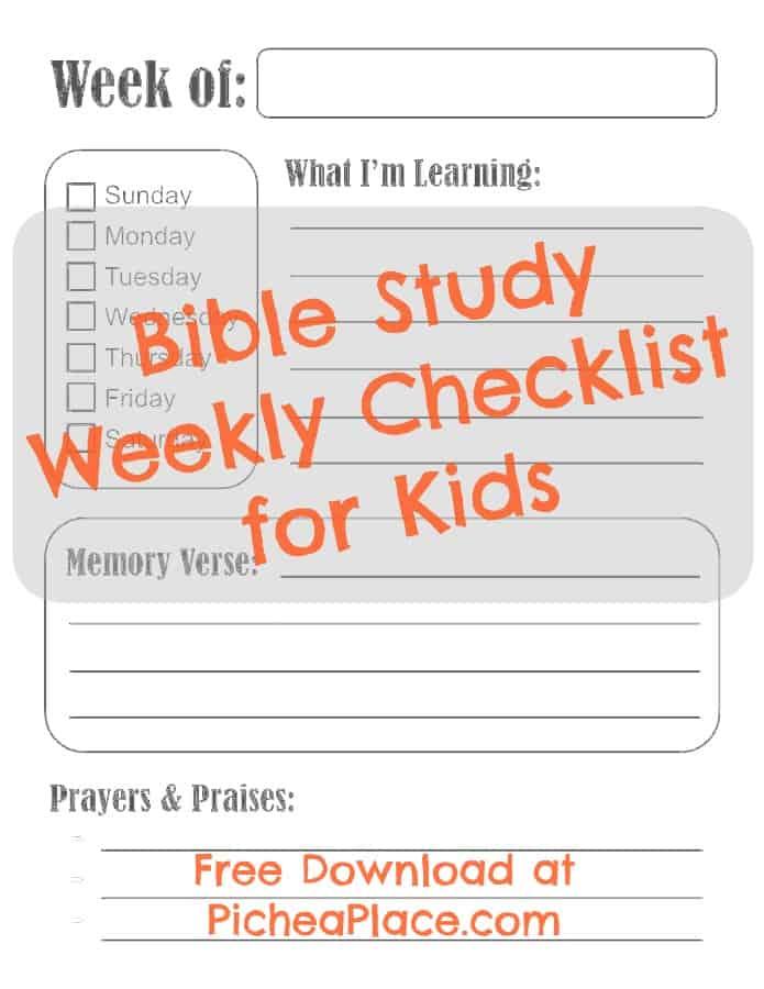 Bible Study Weekly Record Sheet printable