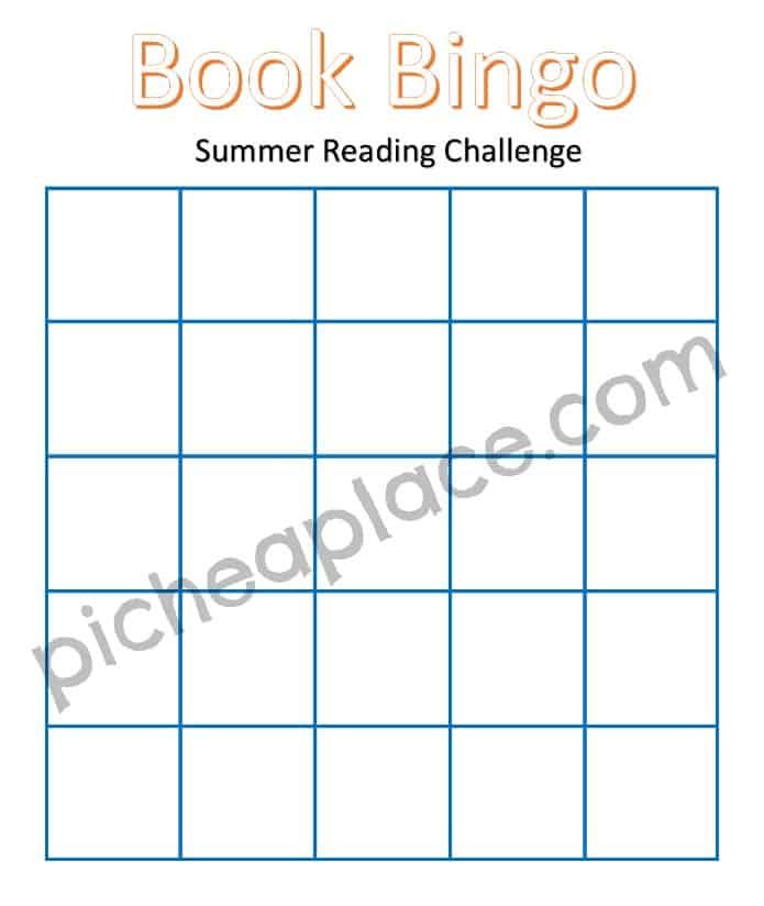 Book Bingo Blank Board with Watermark