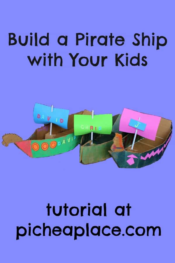 Build a Pirate Ship with Your Kids | craft tutorial at PicheaPlace.com