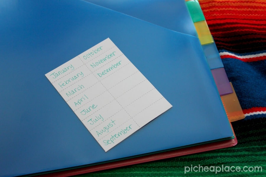 Birthday Card Organizer | tutorial with free printable at picheaplace.com