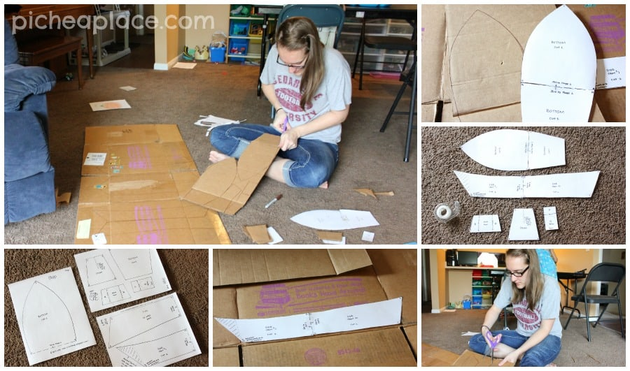 Cutting out the pirate ship pieces