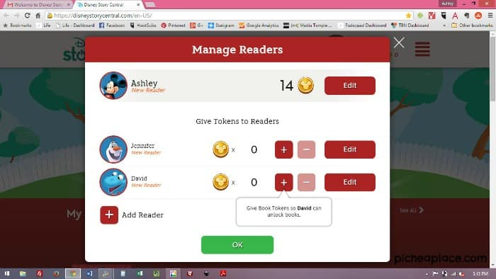 Disney Story Central Screenshot - Manage Readers