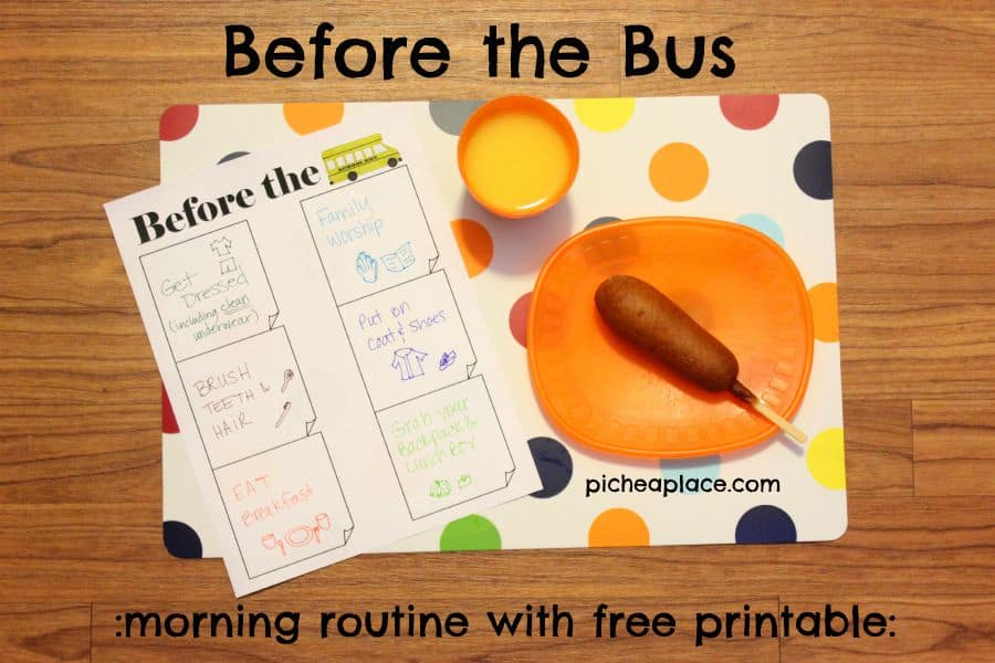 Before the Bus | morning routine with free printable