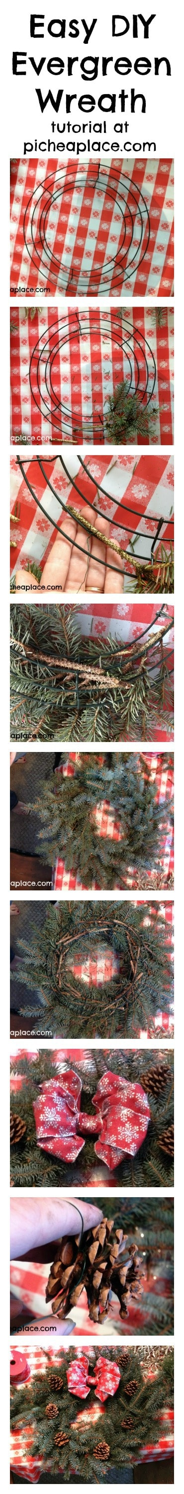 Easy DIY Evergreen Wreath Tutorial at PicheaPlace.com