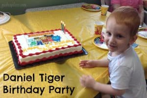 Daniel Tiger Birthday Party | This Daniel Tiger birthday party was so much fun for the kids and super easy for this busy mom to throw together. Click through to the post to get ideas for Daniel Tiger themed food, crafts, activities, and more!