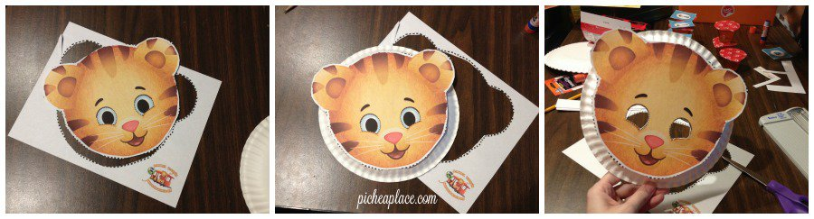Daniel Tiger paper plate mask craft tutorial | This Daniel Tiger birthday party was so much fun for the kids and super easy for this busy mom to throw together. Click through to the post to get ideas for Daniel Tiger themed food, crafts, activities, and more!