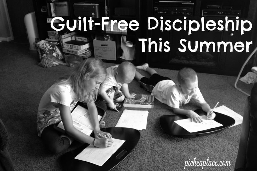 Guilt-Free Discipleship This Summer | The discipleship of your children may look different from those around you, but do not let that discourage you. Ask the Lord how you can disciple your children this summer as you rise up and lay down, so that your children may be able to pray and live Deuteronomy 6:4-7.