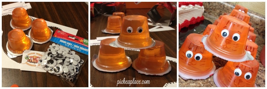 Tiger Jello Cup craft tutorial | Daniel Tiger party food idea | This Daniel Tiger birthday party was so much fun for the kids and super easy for this busy mom to throw together. Click through to the post to get ideas for Daniel Tiger themed food, crafts, activities, and more!