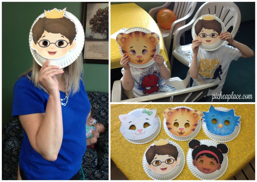 Daniel Tigers Neighborhood paper plate mask craft | This Daniel Tiger birthday party was so much fun for the kids and super easy for this busy mom to throw together. Click through to the post to get ideas for Daniel Tiger themed food, crafts, activities, and more!