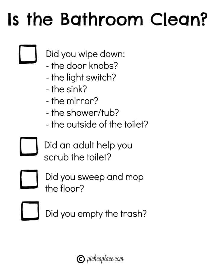 Sending your kids in to clean the bathroom can be a risky move, but when you arm them with the knowledge and tools they need, you can successfully hand over the bathroom cleaning duties. Here are a few tips for teaching kids to clean the bathroom, plus a free printable bathroom cleaning checklist.