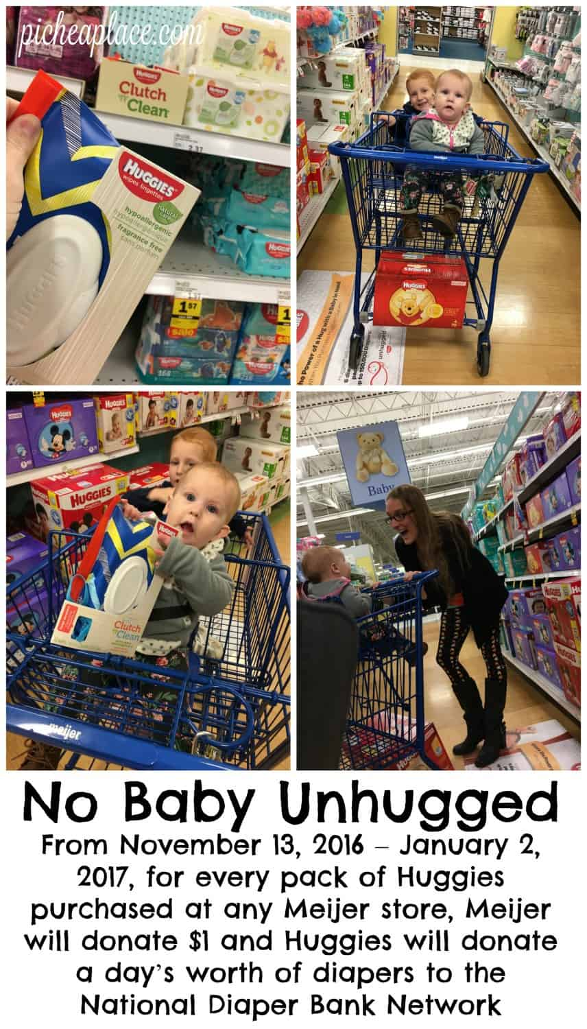 From November 13, 2016 – January 2, 2017, for every pack of Huggies purchased at any Meijer store, Meijer will donate $1 and Huggies will donate a day's worth of diapers to the National Diaper Bank Network.