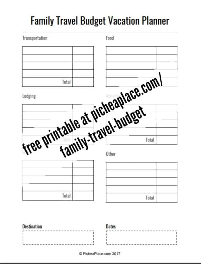 Family Travel Budget Vacation Planner - free printable worksheet