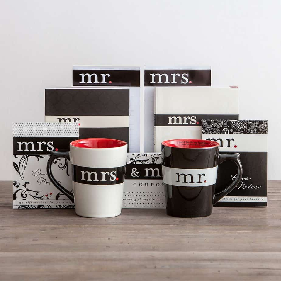 Enjoy a coffee date with your spouse - Mr. & Mrs. Coffee Mugs from DaySpring