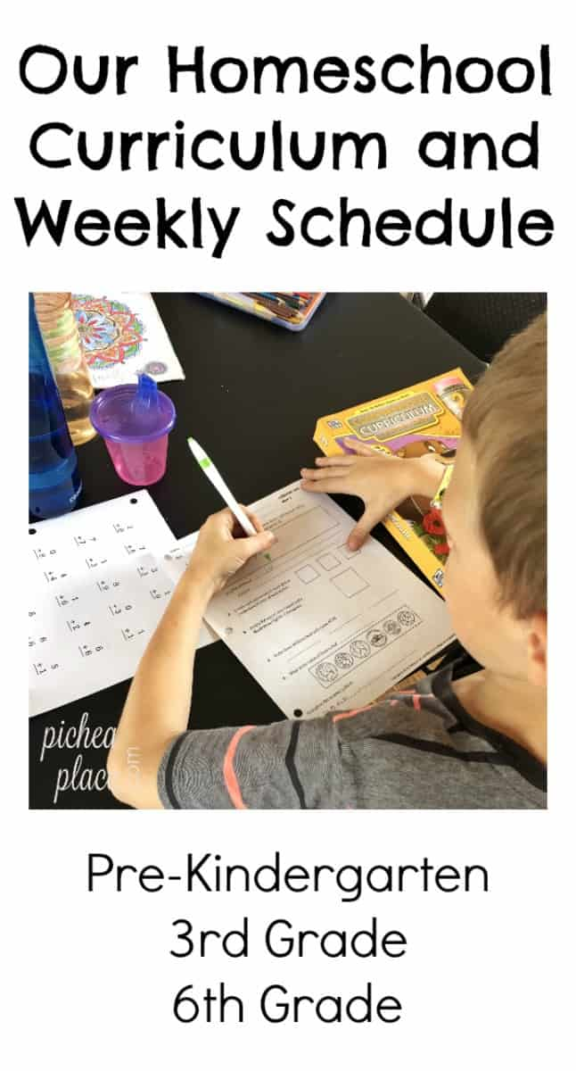 Homeschool Curriculum and Weekly Schedule | Preschool, 3rd Grade, and 6th Grade