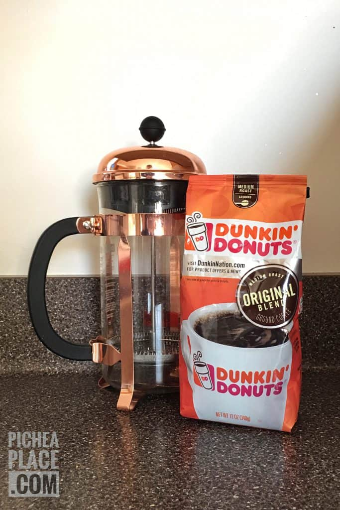 Double the grounds in your French Press to make espresso-strength coffee at home with Dunkin' Donuts coffee grounds.
