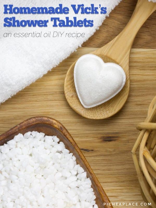 Homemade Vicks Shower Tablets - essential oil DIY recipe