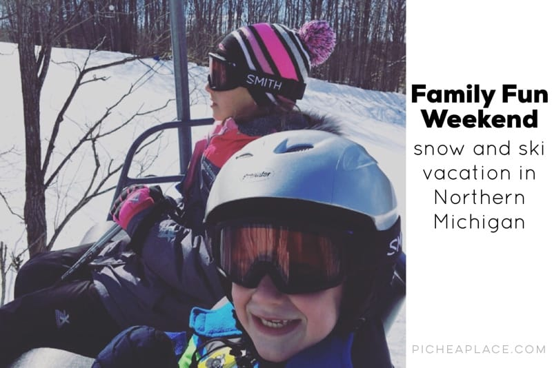 """Getting away from the every day routine is important for busy families wanting to connect. We recently enjoyed a """"last minute"""" family fun weekend in Northern Michigan, skiing and playing in the snow. It was a perfect mini family vacation that allowed us to disconnect from the world and connect as a family."""