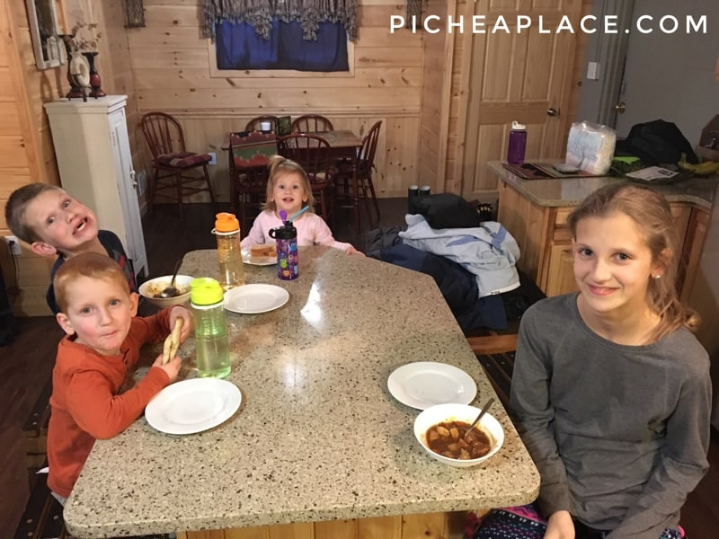 Renting a cabin for our family of six saved us money!