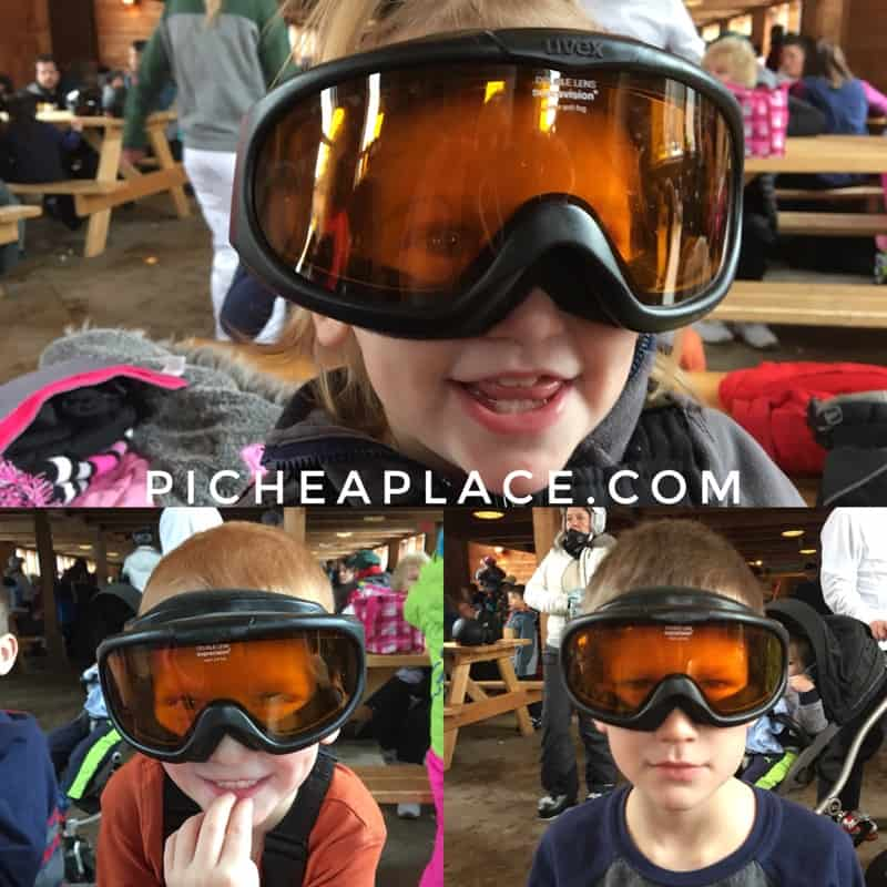 The kids had fun trying on Daddy's ski googles during our lunch break at Caberfae Peaks.