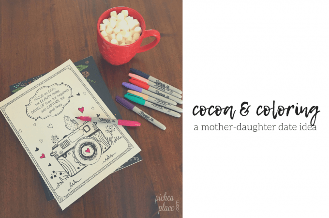 I found the inspiration for this coloring & cocoa mother-daughter date idea at Target.